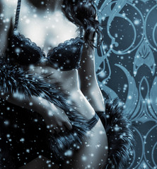 A sexy woman in lingerie on a dark snowy background