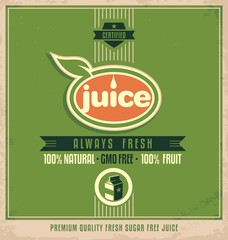 Promotional vintage printing material for organic juice