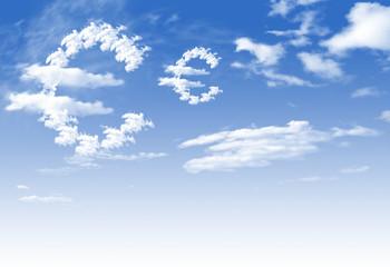 Cloud Euro currency symbol shape over blue sky