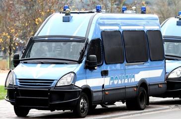 Fototapeta Armored police van transporting money