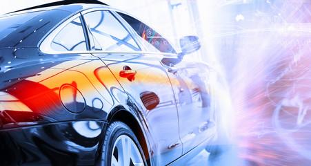 Rear view of luxury car
