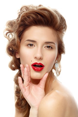 beautiful woman with bright red lipstick