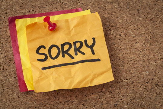 sorry - apology on sticky note