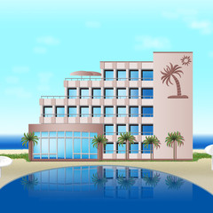 hotel on the sea with palm trees