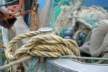 ropes and nets on fishing boat