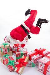 Santa Claus dancing on the floor isolated on white background
