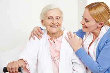 Senior woman getting geriatric care