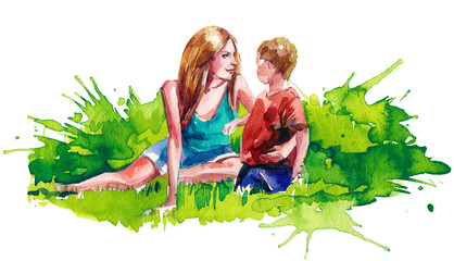 mother with her son on the lawn