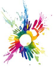 Fotobehang Schilderingen colorful hands