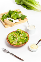 Caesar salad prepared on the classical recipe