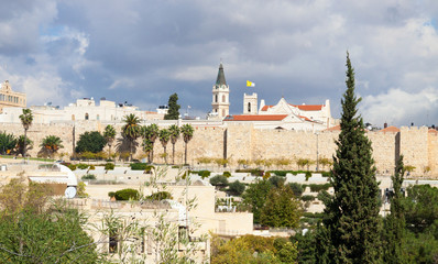 Walls, roofs and churches of Jerusalem