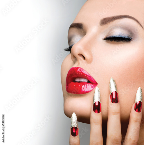 "Nails Art Salon For Girls: ""Fashion Beauty Model Girl. Manicure And Make-up. Nail Art"