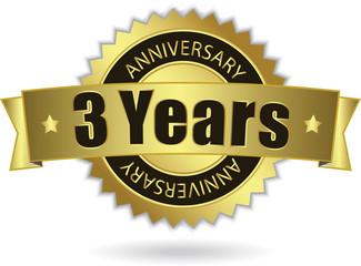 """3 Years Anniversary"" - Retro Golden Ribbon, EPS 10 vector"