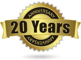 """20 Years Anniversary"" - Retro Golden Ribbon, EPS 10 vecto"