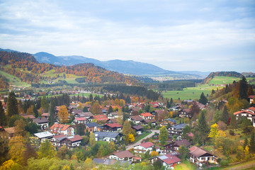 Beautiful little village in the Alps mountains in autumn