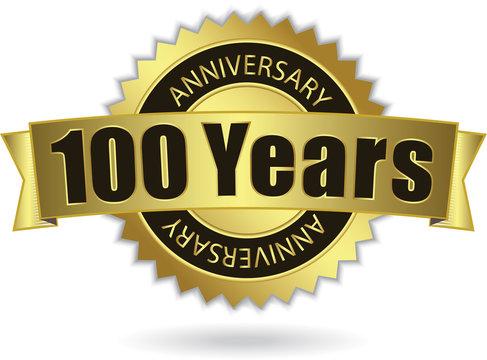 """100 Years Anniversary"" - Retro Golden Ribbon, EPS 10 vector"