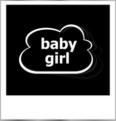 baby girl word social concept, photo frame isolated on white
