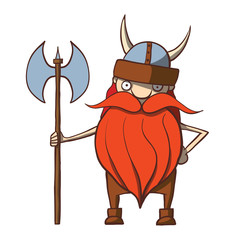 Funny cartoon viking with an ax. Vector illustration
