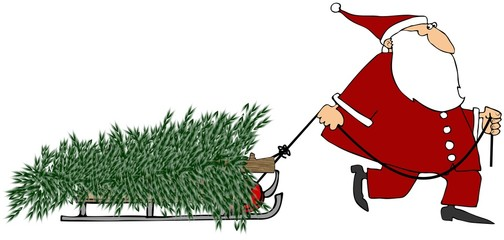 Santa pulling a Christmas tree