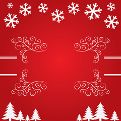 Christmas background with snowflakes and trees.