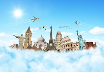 Fotomurales - Travel the world monuments clouds concept