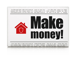 Finance concept: newspaper with Make Money! and Home