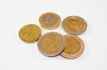 Euro: pile of coins scattered