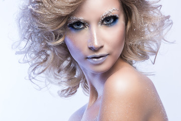 Woman with artistic winter make up