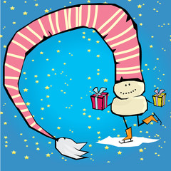 Vector comic cartoon merry christmas illustration with snowman.
