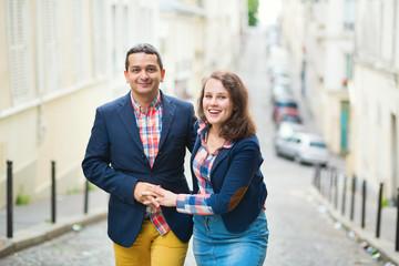 Romantic couple walking in Paris