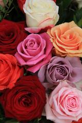 Mixed bridal roses
