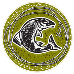 Fish on a green background and fishing line with a hook