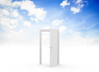 Opening door in sky