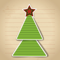 Paper christmas tree. Vector new year card