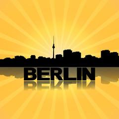 Berlin skyline reflected with sunburst illustration