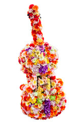 Flowers in the guitar shape with clipping path