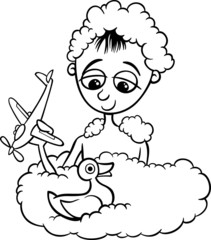 cute little boy in bath coloring page