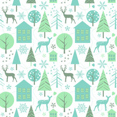 Winter forest - seamless vector pattern