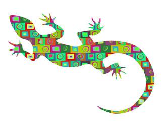 Bright multicolored abstract pattern retro background lizard
