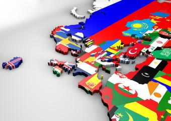 Italia in 3d con mappa Europa e bandiere