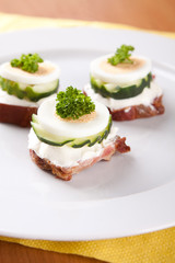 Bread with pork rillettes with cucumber and garlic