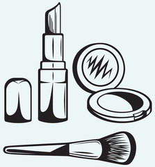 Various Cosmetics isolated on blue background