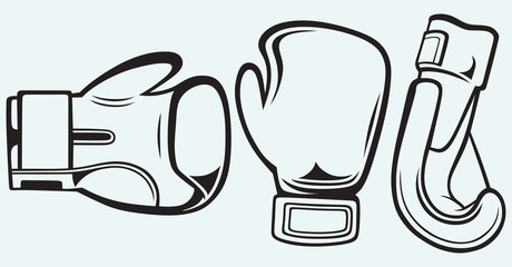 Pair boxing gloves isolated on blue background