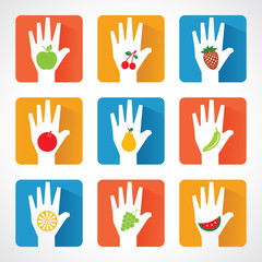Different fruit icons and design with helping hand stock vector