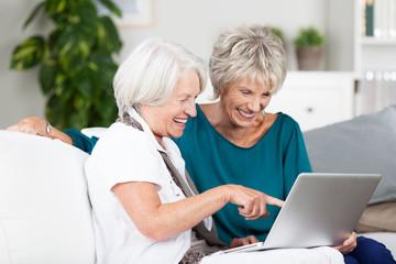 zwei ältere damen mit laptop zu hause