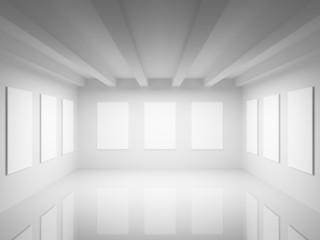 Empty white art gallery hall interior. 3d illustration