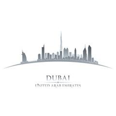 Dubai UAE city skyline silhouette white background