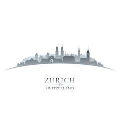 Wall Mural - Zurich Switzerland city skyline silhouette white background