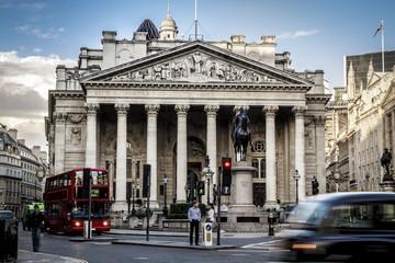 Foto op Aluminium Londen rode bus Royal Exchange, London