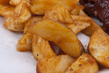 Golden Fried Crisp Potato Wedges.